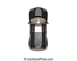 Auto, oberseite, -, freigestellt, schwarz, ansicht. Auto ...