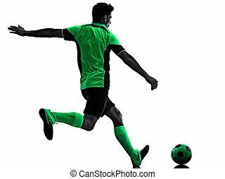freigestellt, silhouette, hintergrund, spieler, junger mann, schatten, weißes, fußball