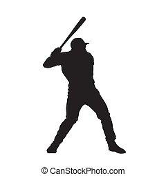 freigestellt, silhouette., spieler, vektor, baseball teig