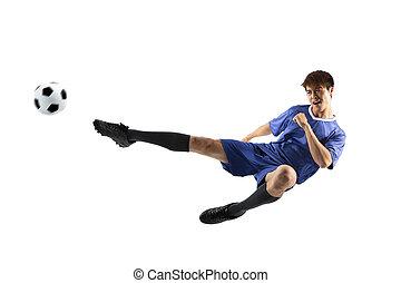 freigestellt, spieler, hintergrund, aktiv, weißes, fußball