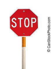 freigestellt, stopschild, mit, zigarette, pfahl