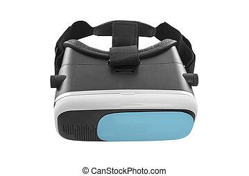 freigestellt, virtuelle wirklichkeit, hintergrund., weißes, brille