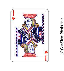 freigestellt, wagenheber, herzen, weißes, spielen karte