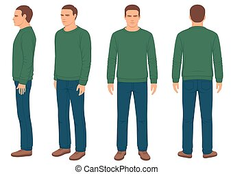 freigestellt, zurück, front, mann, seitenansicht