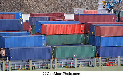 Freight at Dock - Freight stacked on dock ready for loading