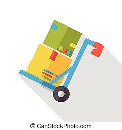 freight box trolley flat icon