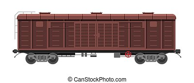 Freight railroad car isolated on white background. Freight boxcar wagon. Flatcar part of cargo train. Industrial railroad transportation. Flat vector illustration