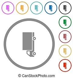 Freight car flat color icons in round outlines on white background