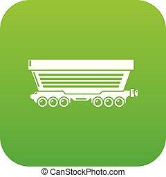 Freight car icon green vector