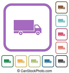 Freight car simple icons in color rounded square frames on white background