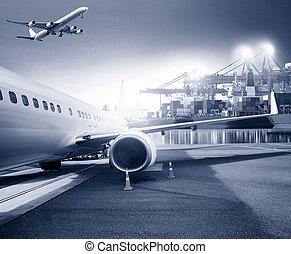 freight cargo plane in airport and container shipping port background for logistic business theme