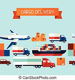 Freight cargo transport icons seamless pattern in flat design style