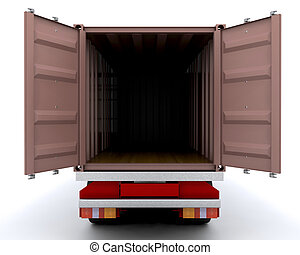 Freight container - 3D render of an open freight container