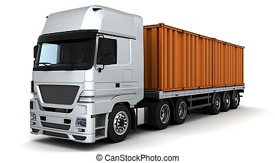 freight container Delivery Vehicle - 3D Render of a freight...