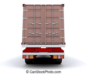 Freight container on the back of a heavy goods vehicle