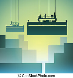 Freight Containers at the Docks with Crane