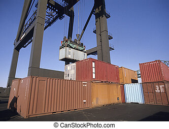 Freight containers on dock