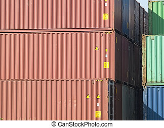 Freight containers - Stack of 40 foot freight containers,...