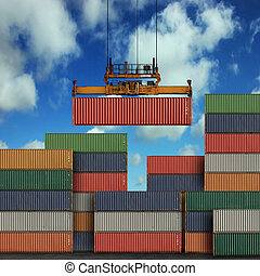 Freight Containers - Stack of freight containers at the...