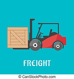 Freight delivery flat icon with forklift truck