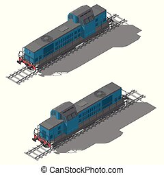Freight diesel locomotive isometric low poly icon set