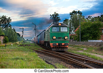 Freight diesel train - Freight train hauled by the diesel ...