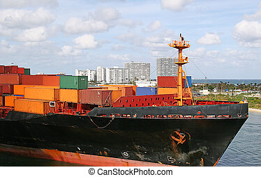 Freight in Harbor - Freight on a ship entering a harbor