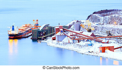 Panorama Industrial Container Cargo freight ship with working crane in shipyard at Iron Ore Mine Factory Plant in Narvik Norway