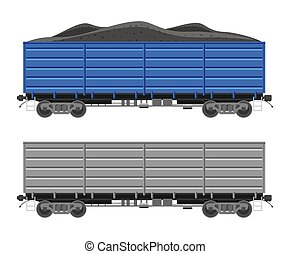 Freight railroad car isolated on white background. Freight boxcar wagon with coal. Flatcar part of cargo train. Railroad transportation. Flat vector illustration