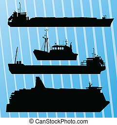 Freight ship, fishing boat and travel ferry boat set silhouettes vector background