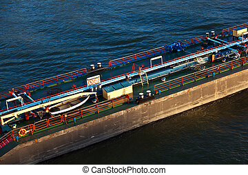 freight ship on river Rhein by Cologne