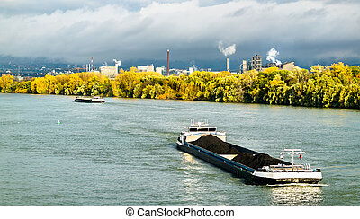 Freight ship on the Rhine River in Mainz, Germany