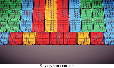 Freight shipping containers - 3d rendering of Freight...