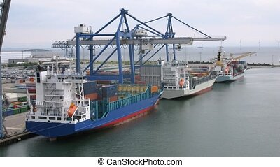 Freight ships loaded with cargo in front of wind farm stationed at sea