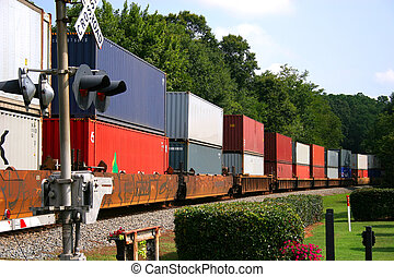 Freight Train across railroad crossing