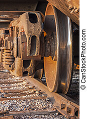 Wheels of freight train boxcar on railroad tracks, Sterling, Colorado