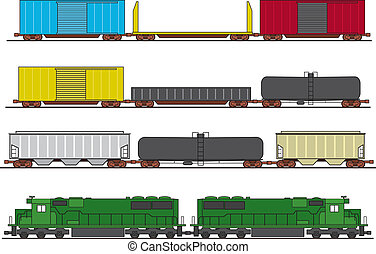 Assorted common North American freight cars and two diesel engines.