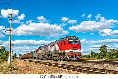 Freight train at Konyshevka station in Russia - Freight...