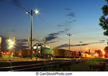 Freight train at the station