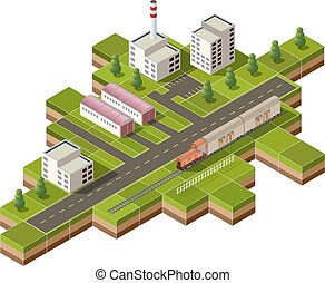 freight train - Vector isometric illustration of a factory...