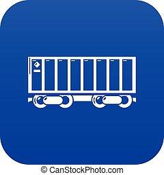 Freight train icon blue vector
