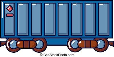 Freight train icon, cartoon style