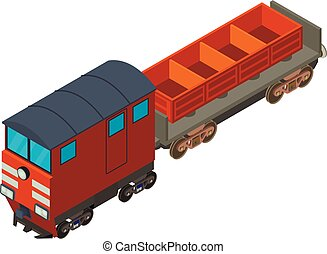 Freight train icon, isometric style