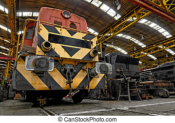 Freight train in garage - Freight train parking in a garage
