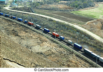 Freight train moving