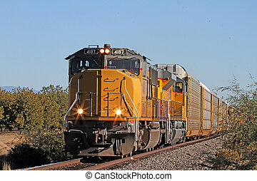 Freight Train moving south - Union Pacific box car train...
