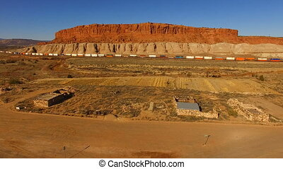 Freight Train New Mexico Settlement Desert Landscape Rocky Butte