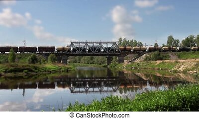 freight train on the bridge