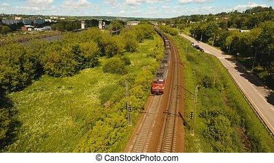 Freight train on the railway
