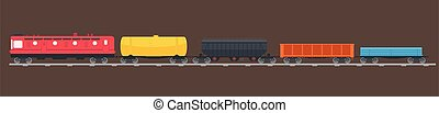 Freight train on tracks. Locomotive pulling various types of railroad cars. Goods wagons being transported vector illustration.